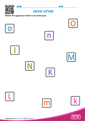 Match upper and lowercase letters k to o